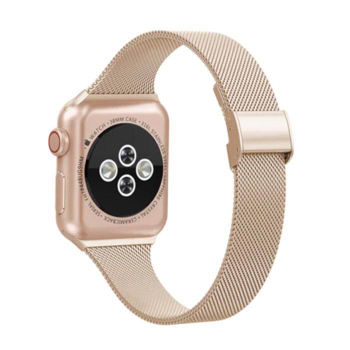 Milanees Mesh Bandje voor iWatch 44mm - Metalen Luxe Armband Polsband Roestvrij Staal Horlogeband Goud