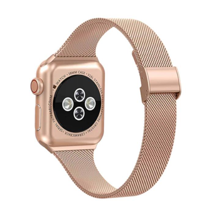 Milanees Mesh Bandje voor iWatch 44mm - Metalen Luxe Armband Polsband Roestvrij Staal Horlogeband Rose Gold