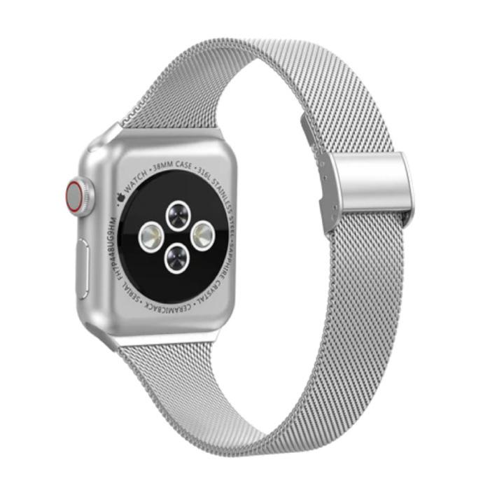 Milanees Mesh Bandje voor iWatch 44mm - Metalen Luxe Armband Polsband Roestvrij Staal Horlogeband Zilver