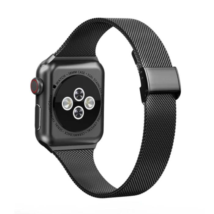 Milanees Mesh Bandje voor iWatch 44mm - Metalen Luxe Armband Polsband Roestvrij Staal Horlogeband Zwart