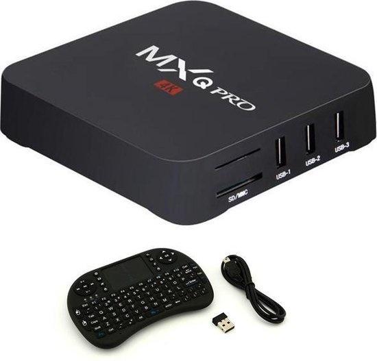 MXQ Pro 4K TV-Box Media Player Android Kodi - 1 GB RAM - 8 GB Speicher + drahtlose Tastatur