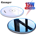 Essager 15W Qi Universal Wireless Charger - 2A Wireless Charging Charging Pad Schwarz
