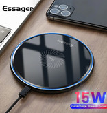 Essager 15W Qi Universele Draadloze Oplader - 2A Snelladen Wireless Charging Pad Wit
