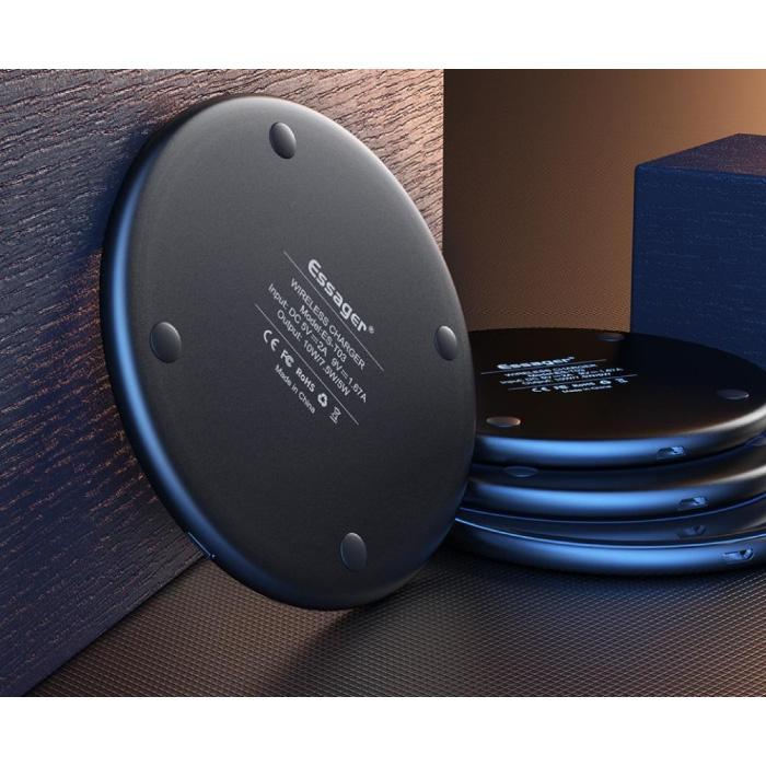 Essager 10W Qi Universele Draadloze Oplader - 2A Snelladen Wireless Charging Pad Zwart