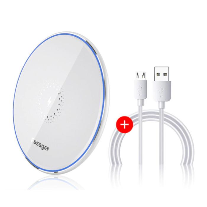 Chargeur sans fil universel Qi 10W - Chargeur sans fil à charge rapide 2A Blanc