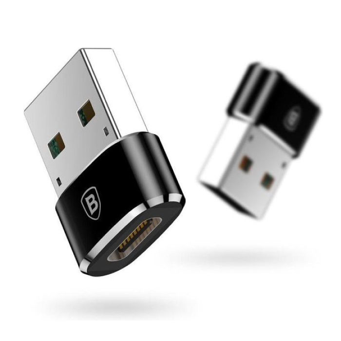 USB to Type C Adapter Converter - USB-C Female / USB Male - 2.4A Fast Charging and Data Transfer