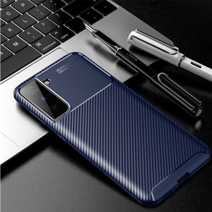 Samsung Galaxy S21 Ultra Hoesje - Shockproof Case Siliconen Rubber Cover Blauw