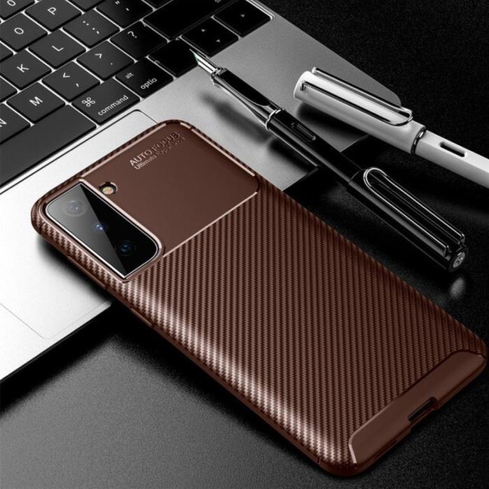 Coque Samsung Galaxy S21 - Coque antichoc Silicone Rubber Cover Marron