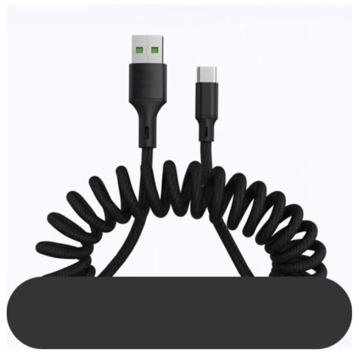 Gekrulde USB-C Oplaadkabel - 5A Spiraal Veer Datakabel 1.5 Meter Oplader Kabel Zwart