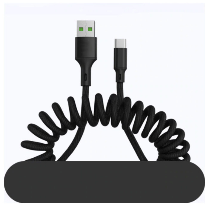 Câble de charge micro-USB courbé - Câble de données à ressort en spirale 5A Câble de chargeur de 1,5 mètre noir