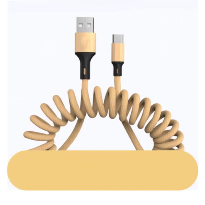 Gekrulde USB-C Oplaadkabel - 5A Spiraal Veer Datakabel 1.5 Meter Oplader Kabel Goud