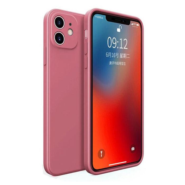 iPhone 12 Square Silicone Hoesje - Zachte Matte Case Liquid Cover Roze