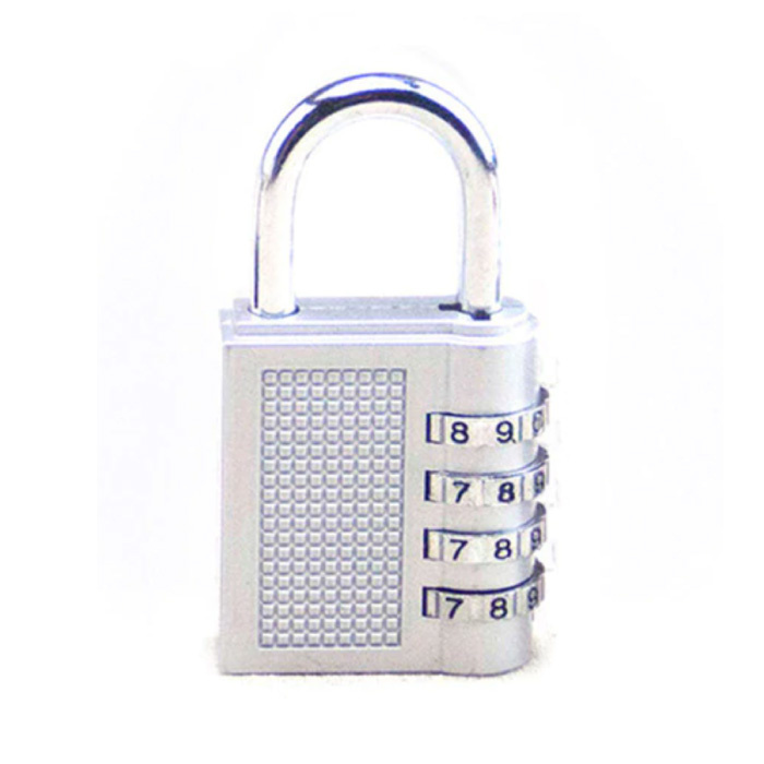 Padlock Number Combination - Weatherproof Bicycle Lock Chain Lock Anti-Theft Stainless Steel White