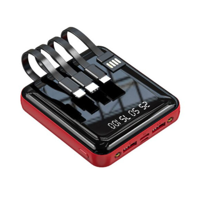 Universal 20.000mAh Mini Power Bank - 4 Arten Ladekabel - 2x USB LED Display Notladegerät Ladegerät Rot