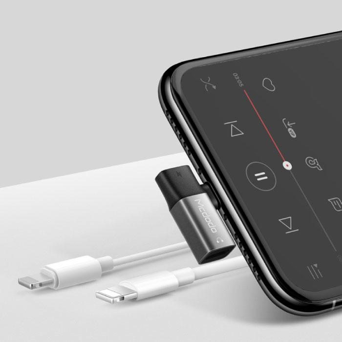 iPhone Lightning Oplader & AUX Splitter - Headphone Audio Splitter Adapter Zwart