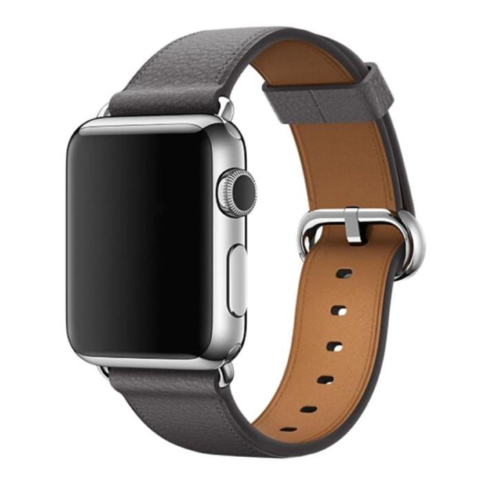 Leren Bandje voor iWatch 38mm - Armband Polsband Duurzaam Leer Horlogeband Roestvrij Staal Sluiting Grijs
