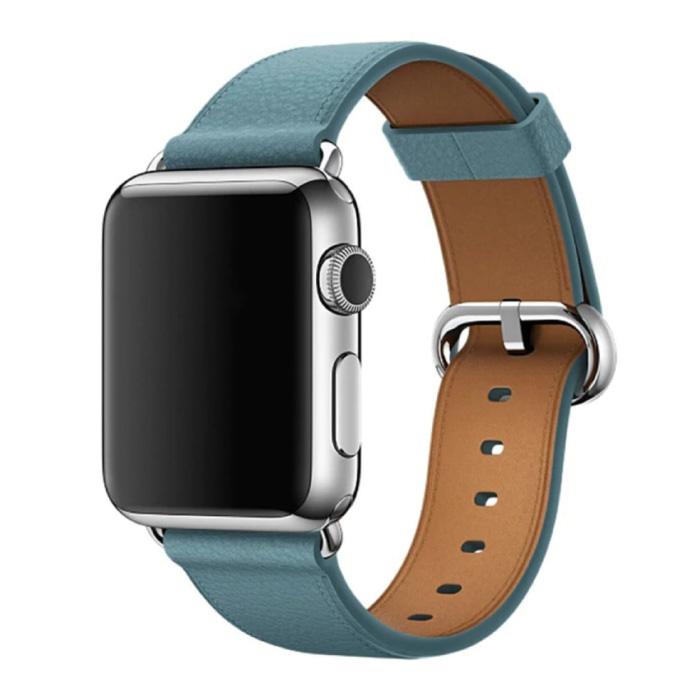 Leren Bandje voor iWatch 40mm - Armband Polsband Duurzaam Leer Horlogeband Roestvrij Staal Sluiting Blauw