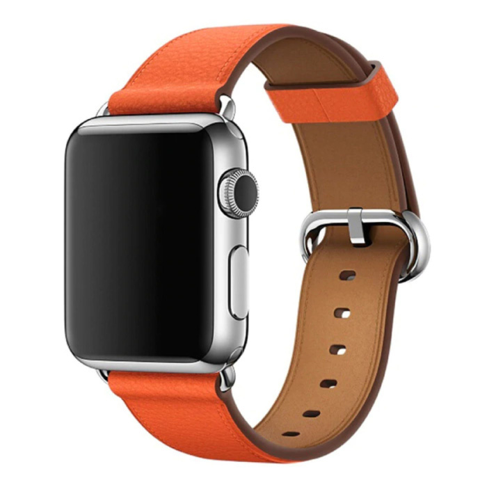 Lederarmband für iWatch 44mm - Armband Armband Robustes Lederarmband Edelstahlverschluss Orange
