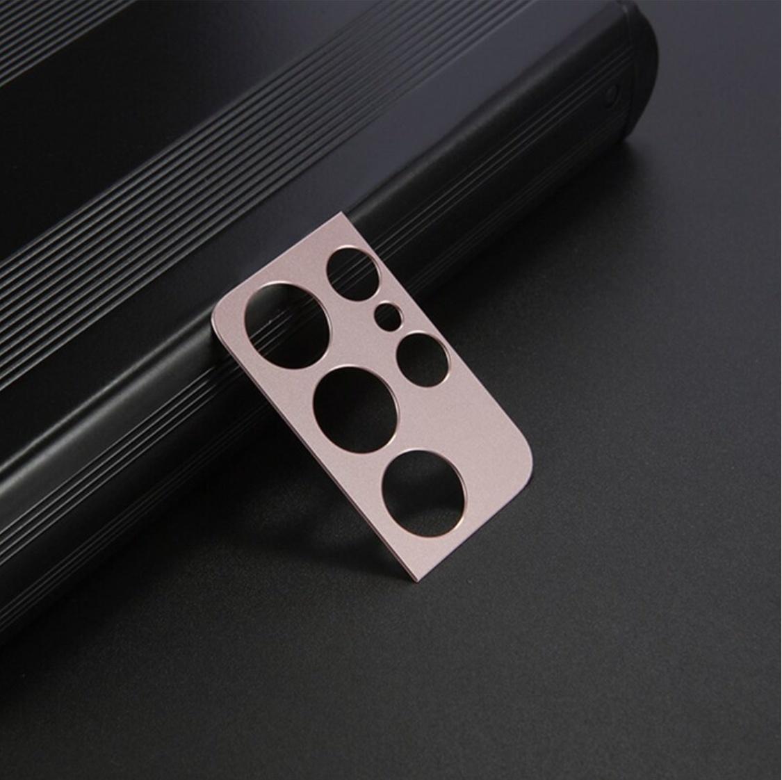 Cache objectif en métal pour appareil photo Samsung Galaxy S21 Ultra - Housse antichoc Or Rose