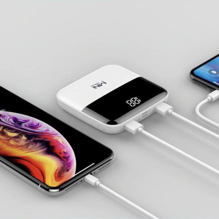 Dual 2x USB Poort Mini Powerbank 10.000mAh - LED Display Externe Noodaccu Oplader Charger Wit