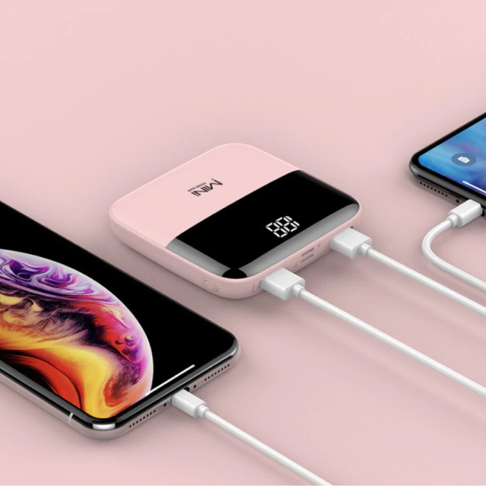 Dual 2x USB Poort Mini Powerbank 10.000mAh - LED Display Externe Noodaccu Oplader Charger Roze