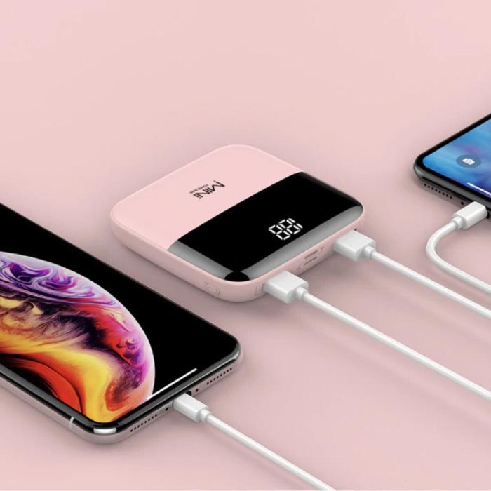 Dual 2x USB Port Mini Powerbank 10,000mAh - Affichage LED Chargeur de batterie externe de secours externe Rose