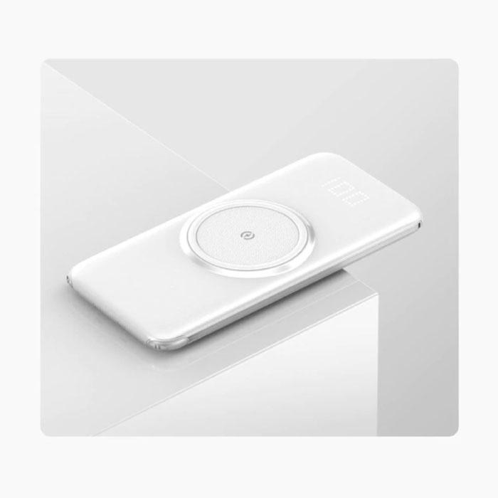 10000mAh Qi Power Bank - Charge sans fil - Câble de charge 4 types - Chargeur de batterie d'urgence à affichage LED USB Blanc