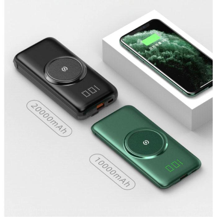 Caseier 10.000mAh Qi Power Bank - Drahtloses Laden - 4 Arten Ladekabel - USB-LED-Anzeige Notladegerät Ladegerät Schwarz