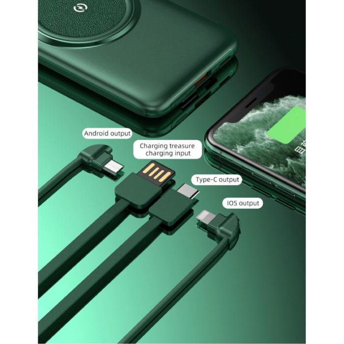 Caseier 10.000mAh Qi Power Bank - Drahtloses Laden - 4 Arten Ladekabel - USB-LED-Anzeige Notladegerät Ladegerät Grün