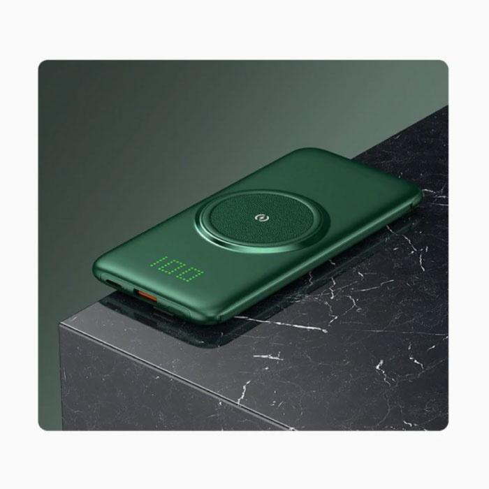 10.000mAh Qi Powerbank - Draadloos Opladen - 4 Types Oplaadkabel - USB LED Display Noodaccu Oplader Charger Groen