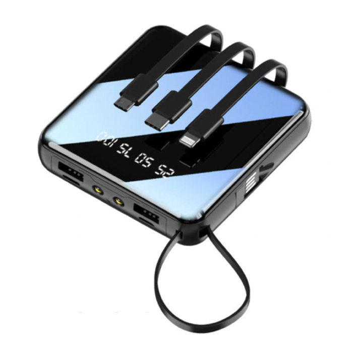 Universele 10.000mAh Mini Powerbank - 4 Types Oplaadkabel - 2x USB LED Display Noodaccu Oplader Charger Zwart