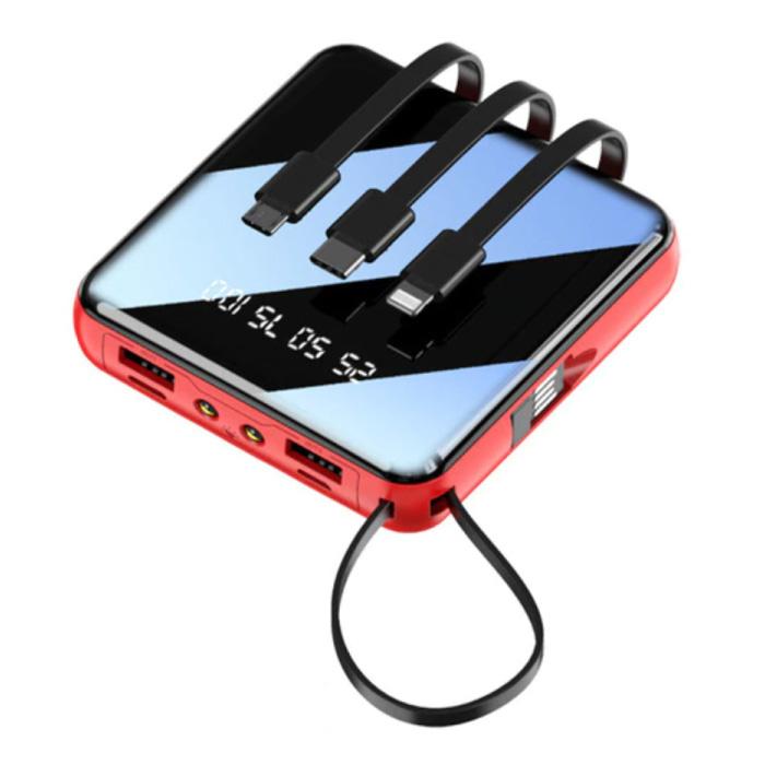 Mini batterie externe universelle de 10000 mAh - 4 types de câble de charge - 2x USB LED Display Chargeur de batterie d'urgence chargeur rouge