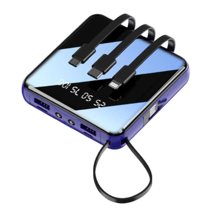 Uniwersalny mini power bank 10000 mAh - 4 rodzaje kabla ładującego - 2x wyświetlacz USB LED Awaryjna ładowarka baterii Niebieska