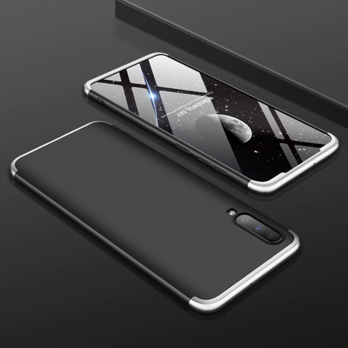 Samsung Galaxy M20 Hybrid Case - Ganzkörper-Stoßdämpfer-Hülle Schwarz-Weiß