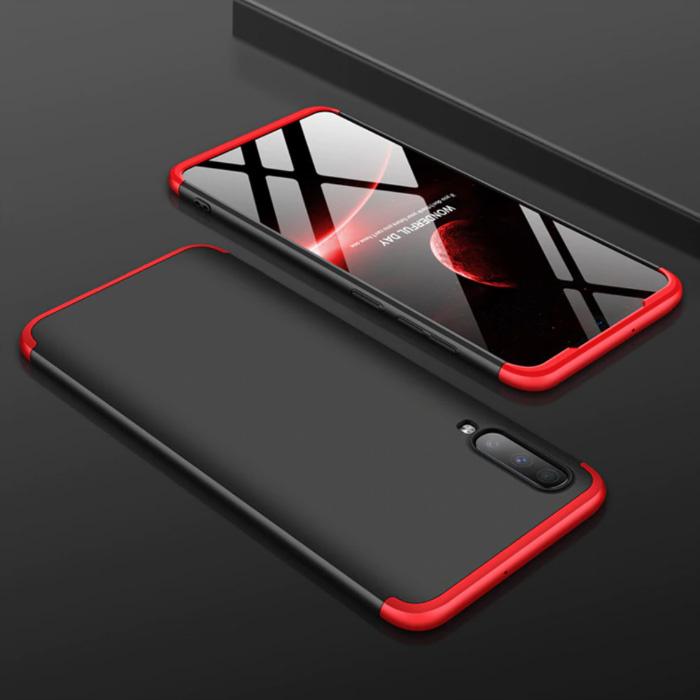 Samsung Galaxy A40s Hybrid-Hülle - Ganzkörper-Stoßdämpfer-Hülle Schwarz-Rot