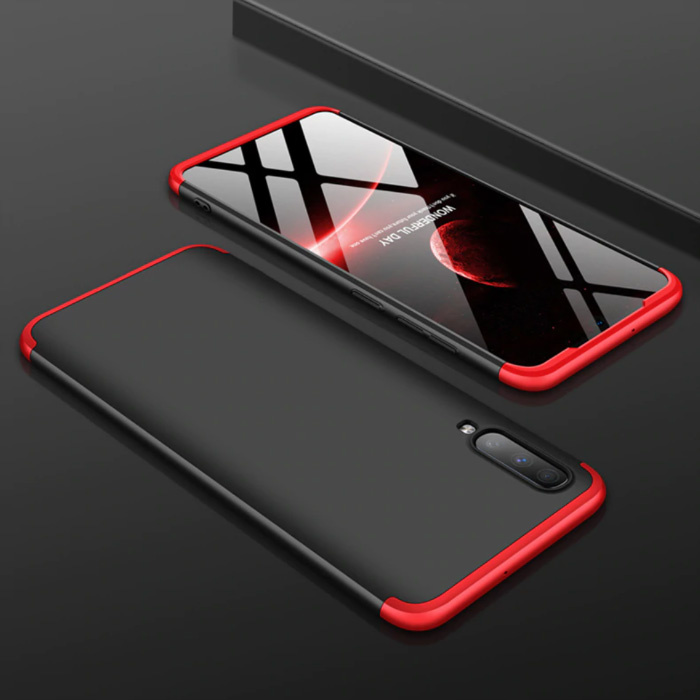 Samsung Galaxy A10 Hybrid Hoesje - Full Body Shockproof Case Cover Zwart-Rood