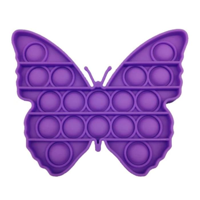 Pop It Butterfly - Zappeln Anti Stress Spielzeug Bubble Toy Silikon Lila