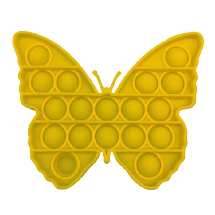Pop It Butterfly - Zappeln Anti Stress Spielzeug Bubble Toy Silikon Gelb