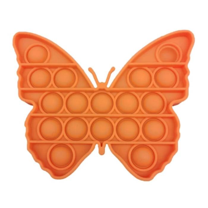 Pop It Butterfly - Zappeln Anti Stress Spielzeug Bubble Toy Silikon Orange
