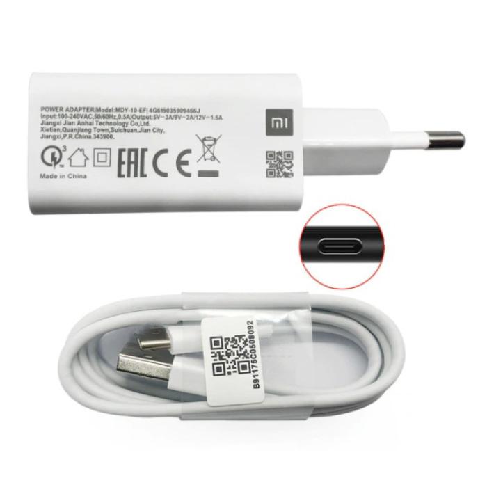 Chargeur de prise de charge rapide + câble de charge USB-C - Adaptateur de chargeur 3A Quick Charge 3.0 et câble de données blanc