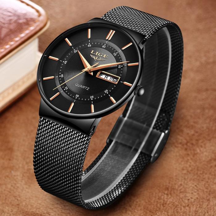 Kwarts Uurwerk Heren - Anoloog Luxe Horloge voor Mannen Zwart