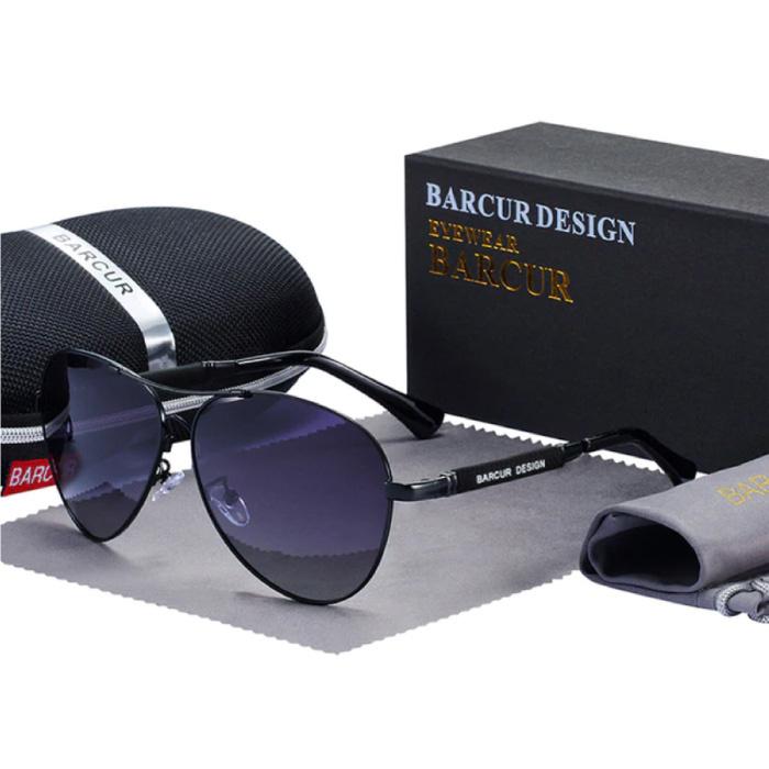 Spiegelsonnenbrille - Titanlegierungs-Pilotbrille mit UV400 und Polarisationsfilter für Männer und Frauen - Schwarz