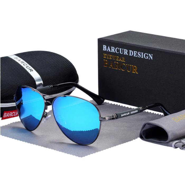 Spiegelsonnenbrille - Titanlegierungs-Pilotbrille mit UV400 und Polarisationsfilter für Männer und Frauen - Blau
