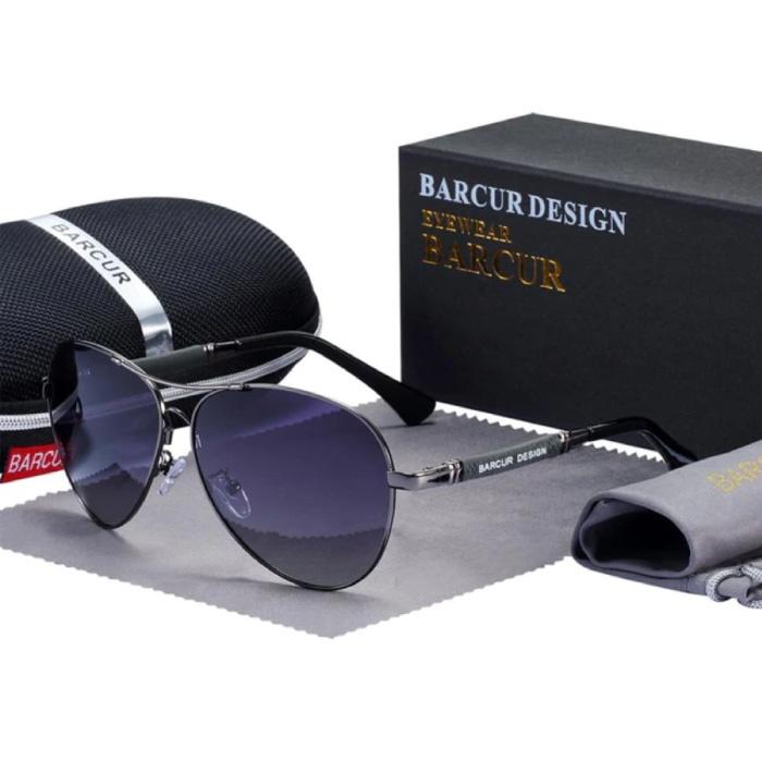 Spiegel Sonnenbrille - Titanlegierung Pilot Brille mit UV400 und Polarisationsfilter für Männer und Frauen - Grau