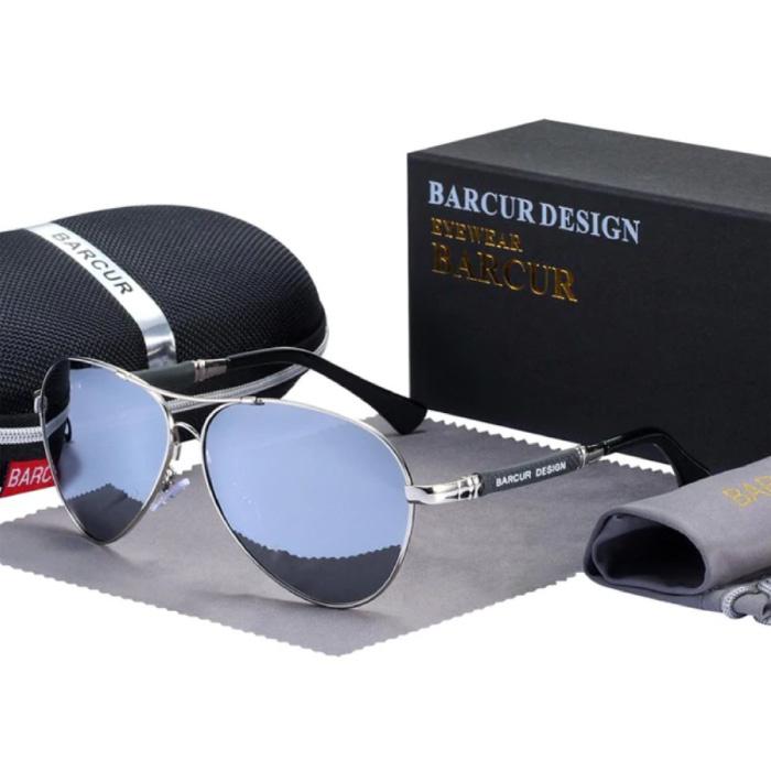 Lunettes de soleil miroir - Lunettes pilote en alliage de titane avec UV400 et filtre polarisant pour hommes et femmes - Argent