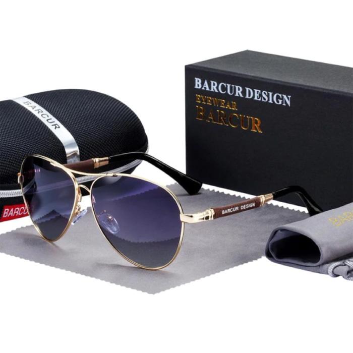Spiegelsonnenbrille - Titanlegierungs-Pilotbrille mit UV400 und Polarisationsfilter für Männer und Frauen - Gold