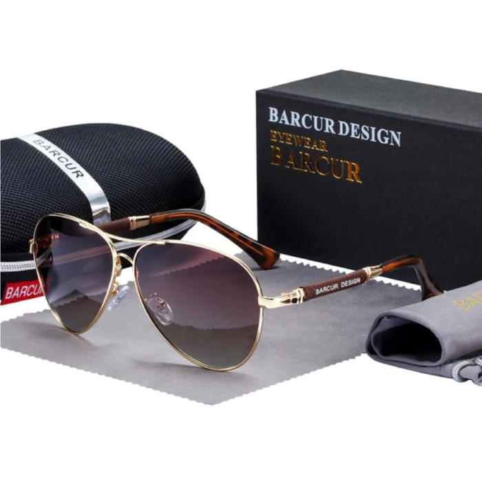 Mirror Sunglasses - Titanium Alloy Pilot Glasses with UV400 and Polarizing Filter for Men and Women - Brown