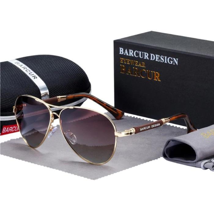 Spiegelsonnenbrille - Titanlegierungs-Pilotbrille mit UV400 und Polarisationsfilter für Männer und Frauen - Braun