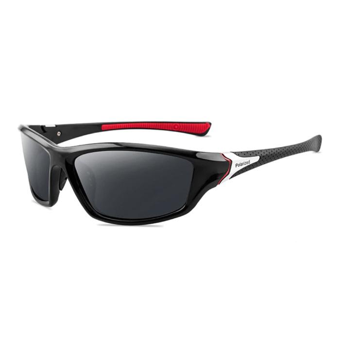 Sportsonnenbrille - UV400 und Polarisationsfilter für Männer und Frauen - Schwarz-Rot