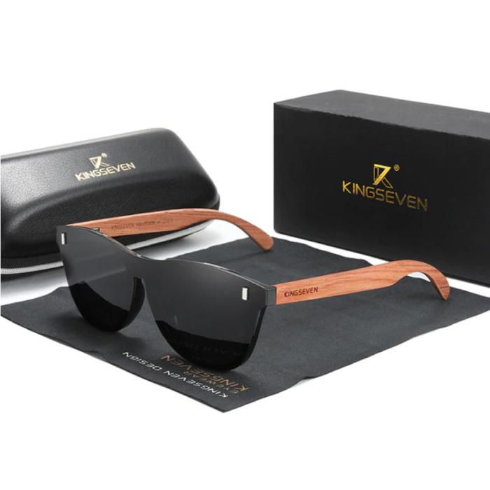Lunettes de soleil de luxe avec monture en bois - UV400 et filtre polarisant pour femme - Noir